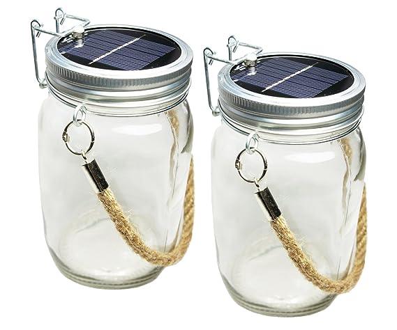 Skaize Lámpara solar LED con forma de tarro de conservas, de cristal, con cuerda y batería - 2 unidades