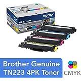 Brother Genuine Standard-Yield Toner Cartridge Four Pack TN223 4PK - Includes one Cartridge Each of Black, Cyan, Magenta & Yellow Toner, Standard Yield, Model: TN2234PK