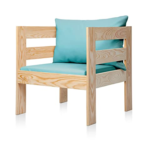 SUENOSZZZ - Sofa Jardin de Madera de Pino Color Natural, MEDITERRANEO Mod. sillón, Sillon cojín Polipiel Color Turquesa. Muebles Jardin Exterior. ...