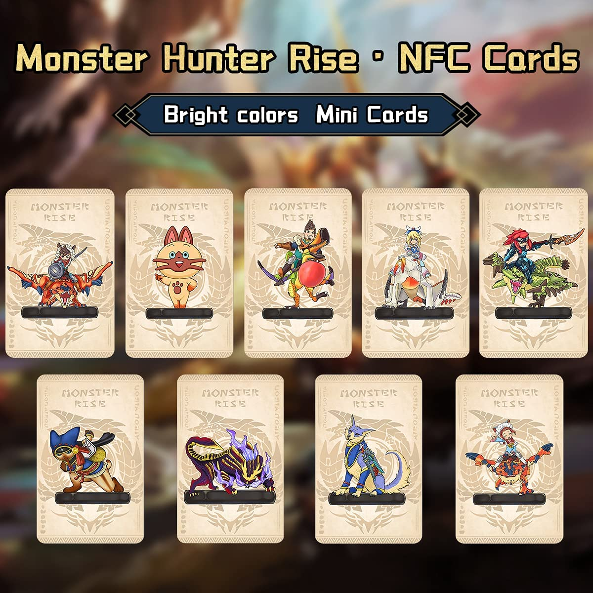 9PCS Monster Hunter Rise Amiibo NFC Cards,(2021), Palamute, Palico, Magnamalo, Mini Game Cards with Case, Compatible with Switch/Switch Lite/New 3DS: Toys & Games