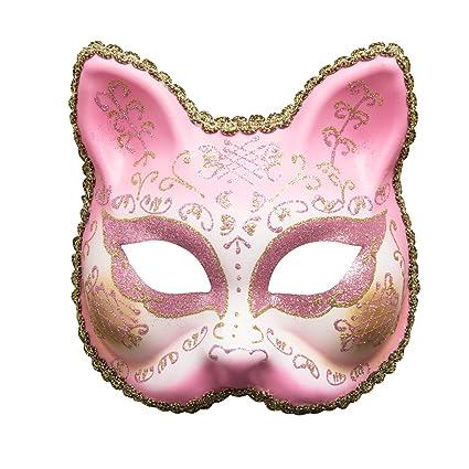 Treeshu Gótico Gato Mujer Halloween Fiesta Máscara Mujeres Animal Party Masquerade Disfraces Hechos A Mano,