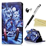 Mavis's Diary Honor 8 Cover ,Huawei Honor 8 Case - Wallet Flip Bumper Cover PU Leather Case Shockproof Prints Design with Inner Flexible Rubber Case Magnetic Closure with Stand Folio Protective Cover with Dust Plug & Stylus Pen - Wolf