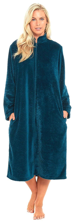 Slumber Hut Ladies Womens Fleece Dressing Gown Luxury Flannel Embossed Zipped Traditional Collar Grey Teal Blue Size UK 10 12 14 16 18 20