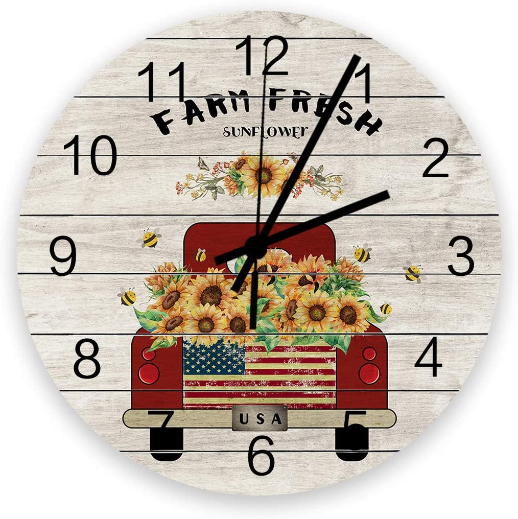 SIMIGREE Retro 12 Inch Waterproof Wall Clock, Silent Non-Ticking Battery Operated for Home Classroom Conference Room Wall Decorative Clock - Farm Fresh Vintage Red Truck with Sunfower Rustic Wooden