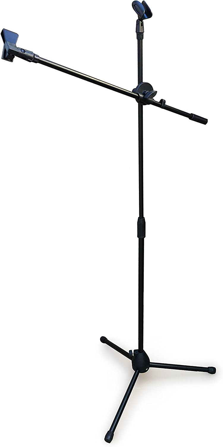 Tripod Boom Microphone Stand - Fully Adjustable Black Mic Stand & Holder - Maximum Stability Safe Knob Lock - Anti-Slip Rubber Tripod Ends - Lightweight & Portable By Sure Luxury