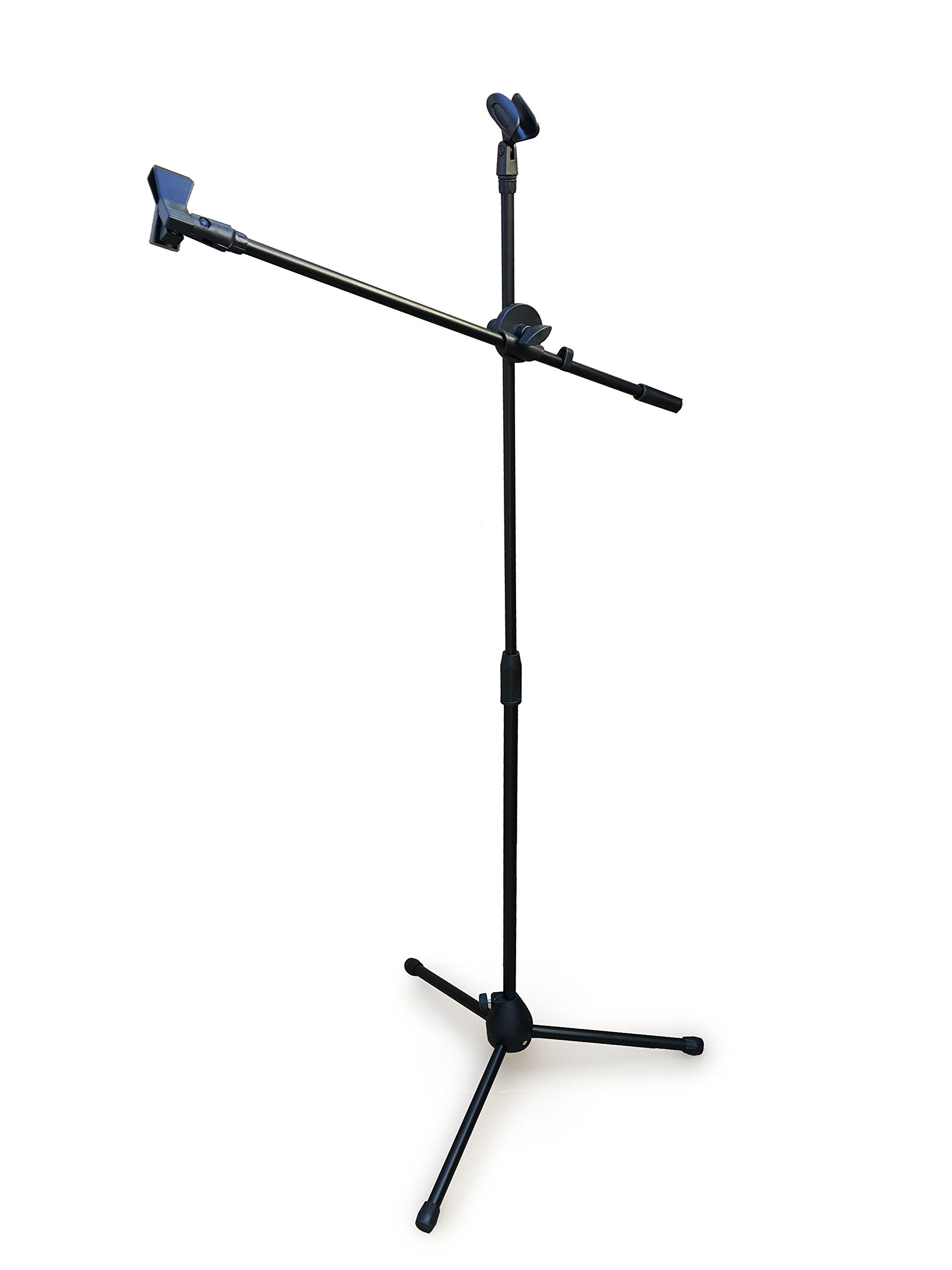 Black Tripod Boom Microphone Stand - Convenient, Portable, and Adjustable Mic Stand