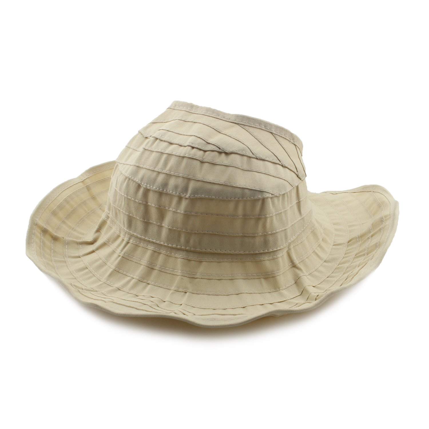 Womens Sun Hat SunJolly Portable Summer Wide Brim UV Protection Floppy Foldable Roll Up Beach Hat and 2PCS Parent-Child Hat for Travel (Women, Beige)