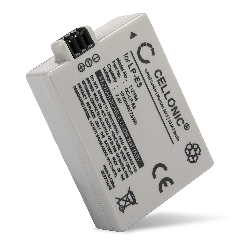 CELLONIC 2X Batería Premium Compatible con Canon EOS 1000D EOS 500D EOS 450D EOS Rebel XS (1020mAh) LP-E5 bateria de Repuesto, Pila reemplazo, ...