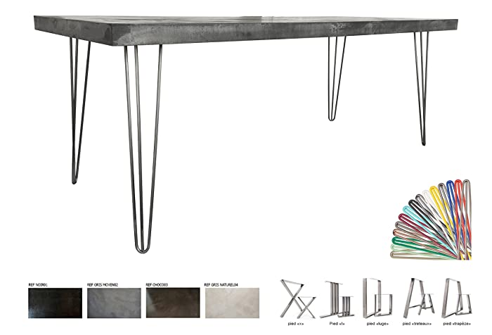 860a9ab4158b2 Table béton ciré utra léger 200x80cm Pieds Acier  Amazon.fr  Handmade