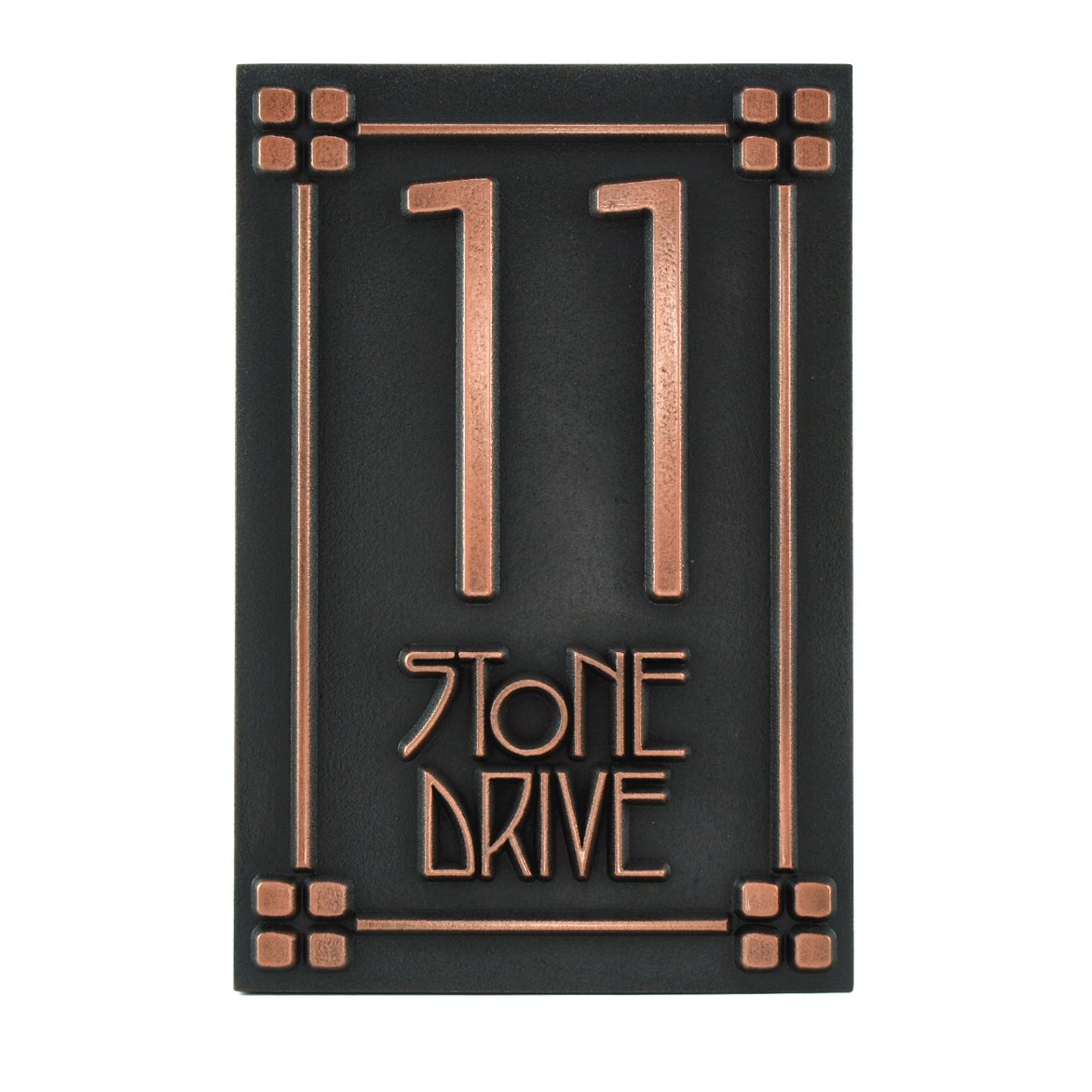 Craftsman Address Plaque - Bungalow Home Numbers - 10.5x16 - Raised Copper Coated Sign
