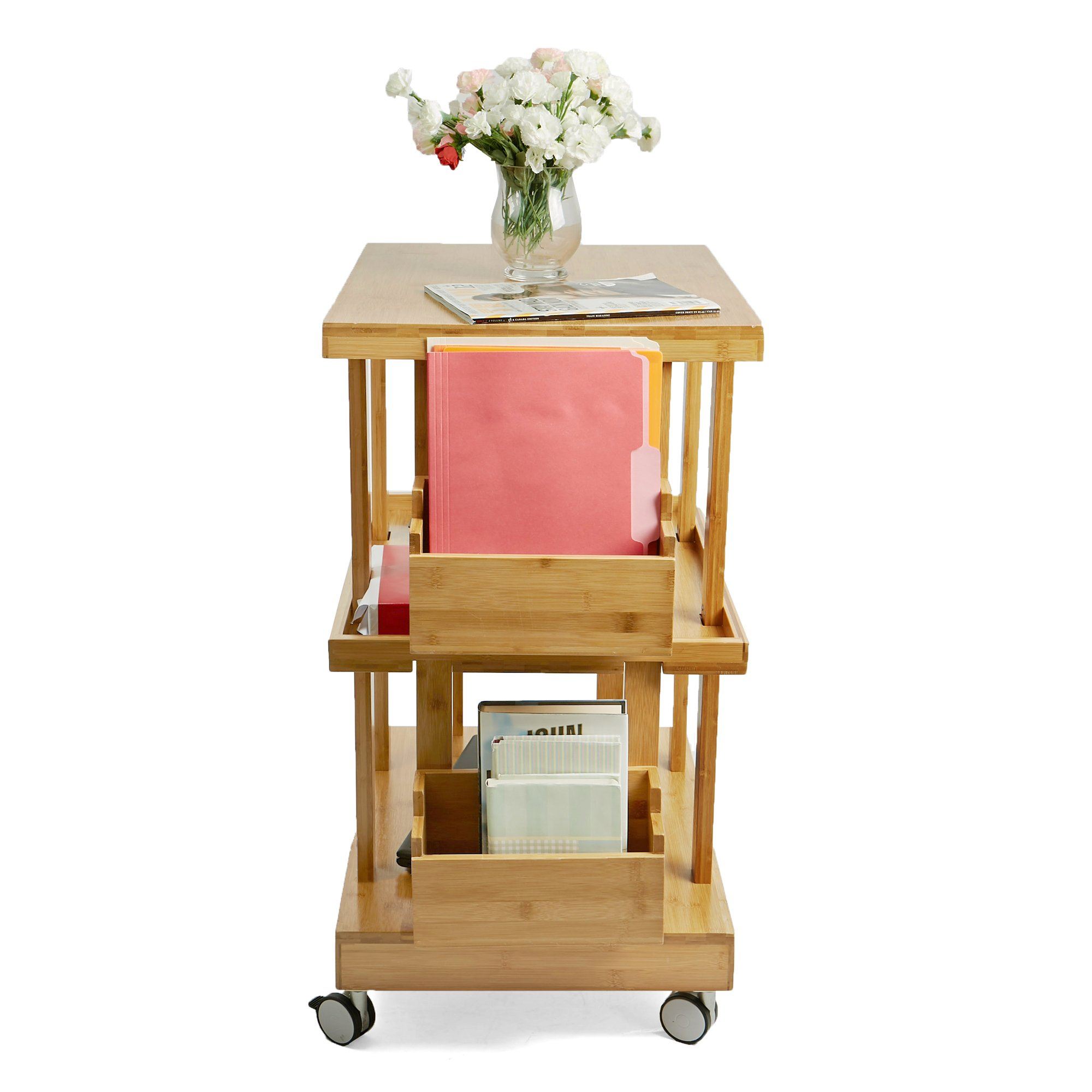 Mind Reader 3-Tier Kitchen Utility Cart with 2 Storage Compartments, Bamboo Wood, Brown by Mind Reader (Image #6)