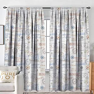 "NUOMANAN Window Blackout Curtains Travel,Vintage Old Rubber Stamps Tourist Passport Visa Certificate Vacation Holiday Theme,Multicolor,for Room Darkening Panels for Living Room, Bedroom 54""x63"""