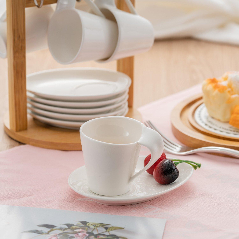 juego de t/é europeo de cer/ámica compuesto de tazas y platos con soporte de bamb/ú de porcelana para regalos de boda y hotel blanco puro. Juego de 6 tazas de caf/é QILICZ; juego de tazas de caf/é
