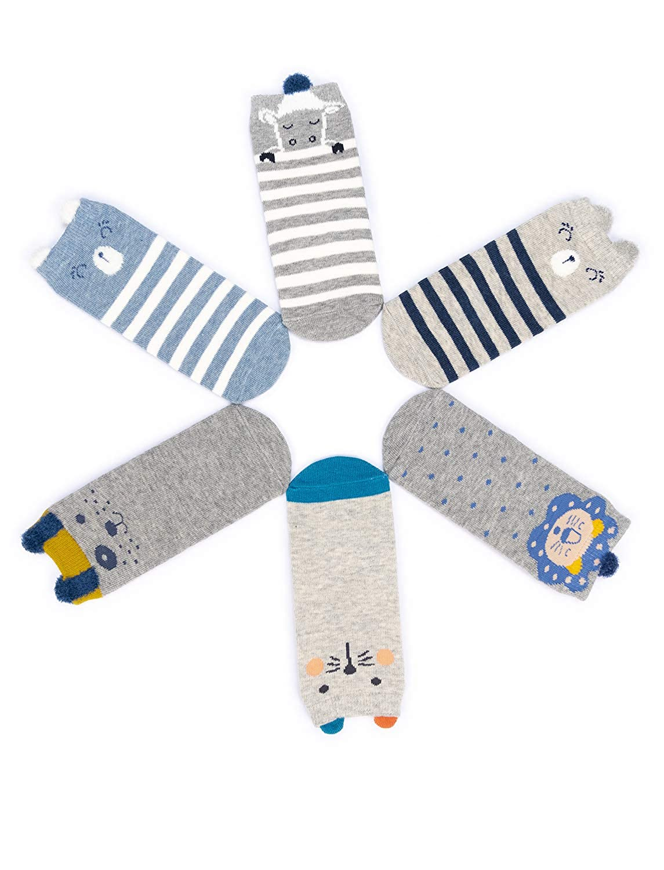 Adorel Mi-chaussettes Antid/érappantes B/éb/é Gar/çon 6 paires 1-3 Ans