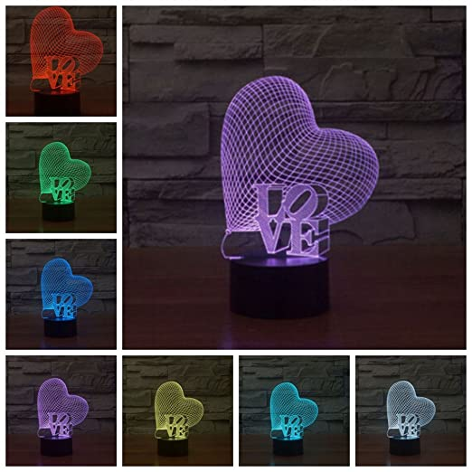 Lightess 3D Desk Lamp Colorful LED Romantic Night Light Touch Control Decoration Lights For Christmas, Wedding, Valentine, Birthday Gift (LOVE&Heart)
