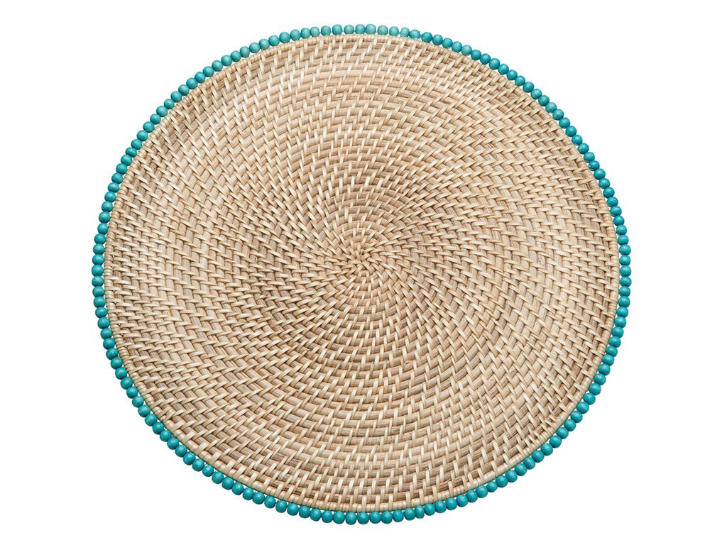 KOUBOO Round Rattan Placemats with Wood Beads, 15'' x 15'' x 0.375'', Set of 2