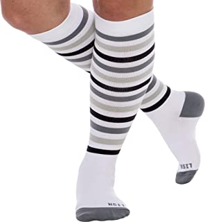a87ccb9a214 LISH Women s True Stripes Wide Calf Compression Socks - Graduated 15-25  mmHg Knee High