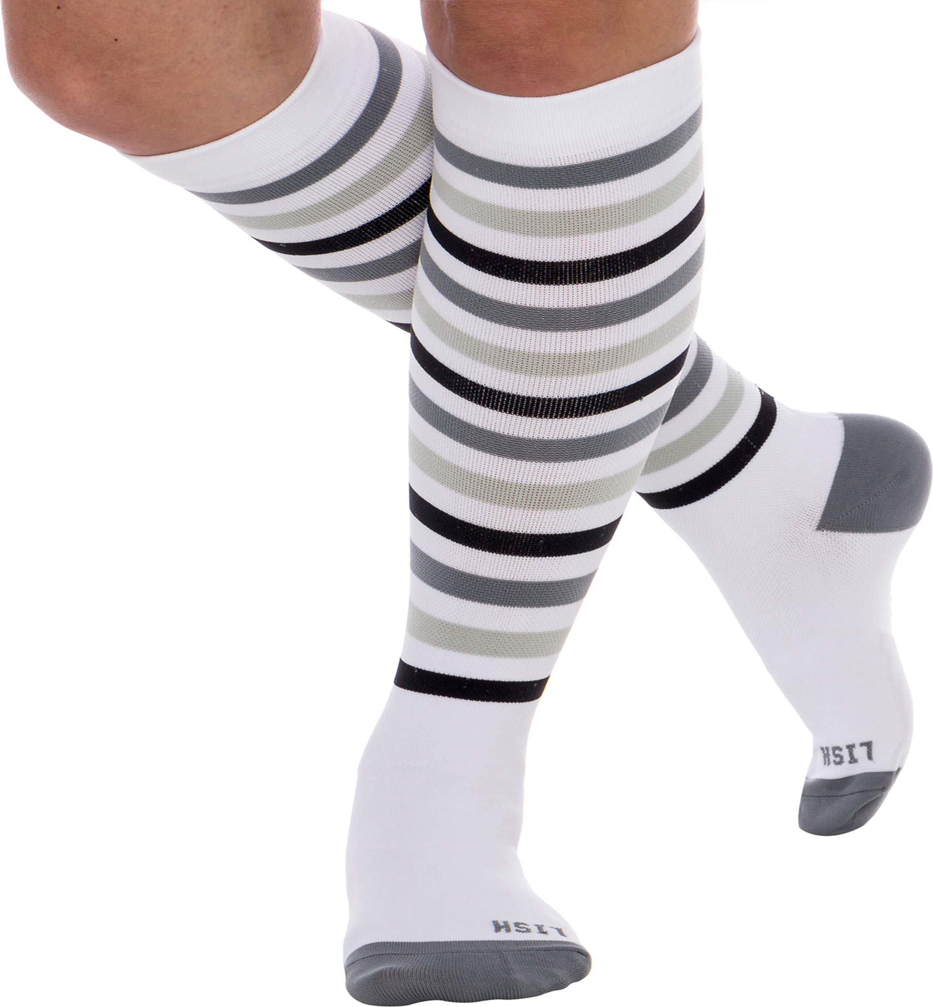 LISH Women's True Stripes Wide Calf Compression Socks - Graduated 15-25 mmHg Knee High Plus Size Support Stockings (Black, M/L)