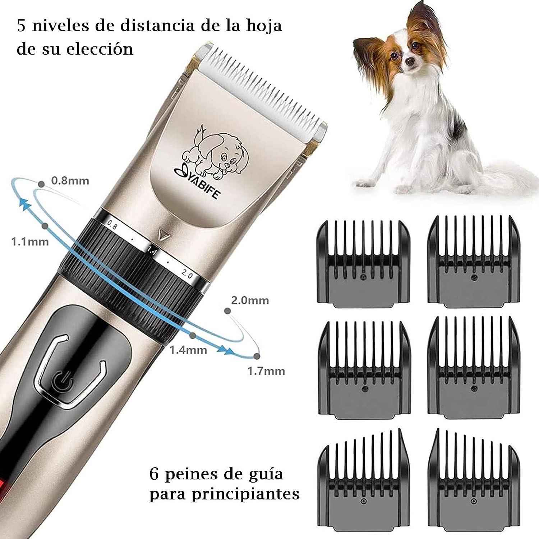 Pantalla LED Lavable Yabife Cortapelos para Perro Silencioso con Bolsa de Almacenamiento Profesional Cortapelos para Perros Gatos y Mascotas de Maquinas Cortar Recargable Inal/ámbrico