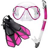 Zenoplige シュノーケルセット スノーケリング ドライスノーケル フィン・マスク・スノーケル 3点セット 曇り止め 強化ガラス 収納バッグ付き 男女兼用