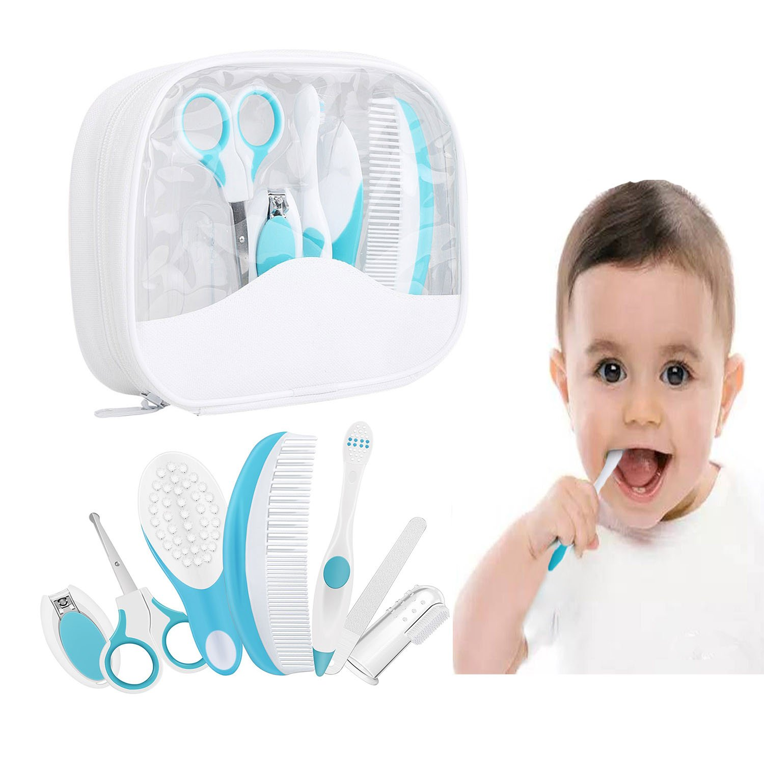 Essential Baby Healthcare and Grooming Kit Set - Nail Care Set with Nail Clipper, Brush, File, Scissors, Comb, Toothbrush & Finger Toothbrush for Infants, Newborns, Kids, Boys and Girls (Blue)