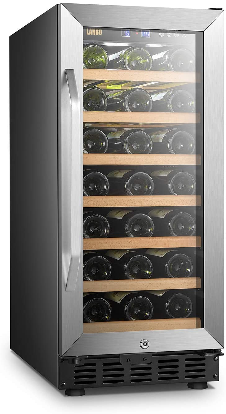 Lanbo 15 Inch Built In Wine Fridge Cooler, 33 Bottles Compressor Wine Cellar