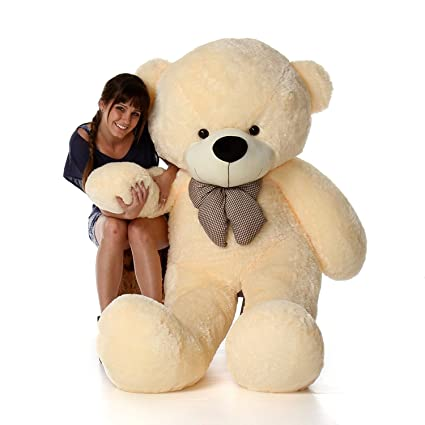 Frantic Teddy Bear with Neck Bow Premium Quality Soft Plush Fabric (Butter, 5 Feet)