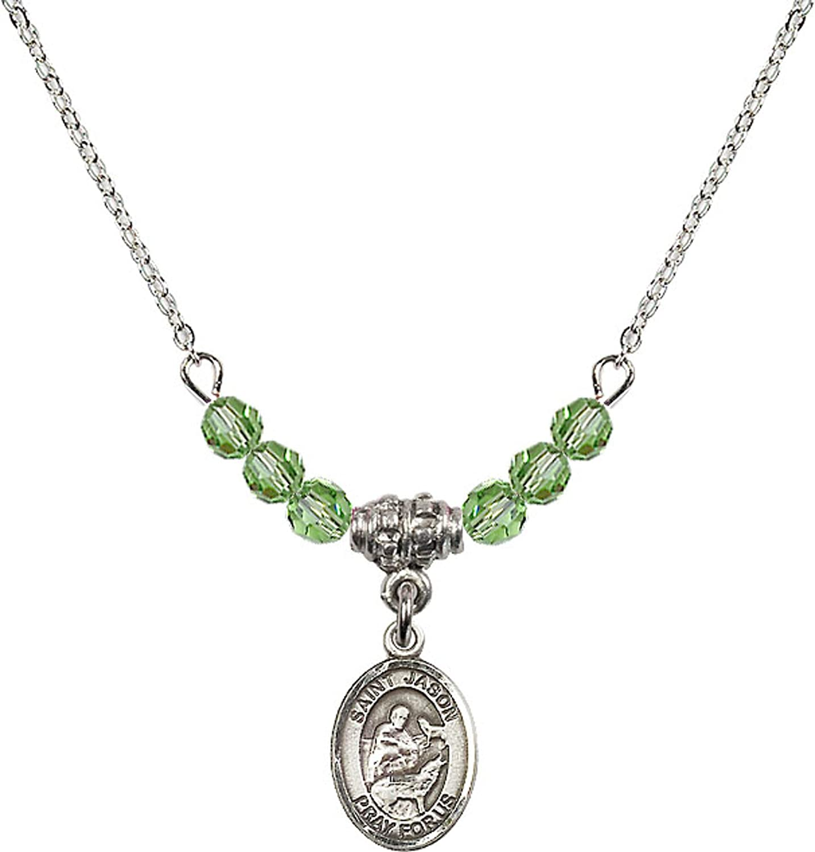 Bonyak Jewelry 18 Inch Rhodium Plated Necklace w// 4mm Green August Birth Month Stone Beads and Saint Jason Charm