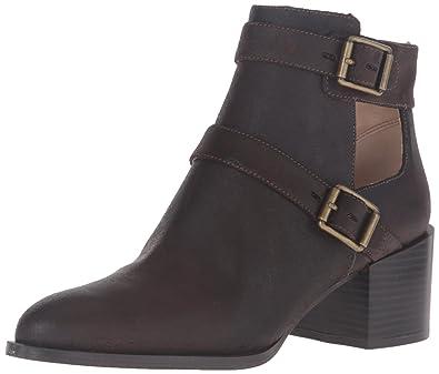 Nine West Women's Evalee Leather Ankle Bootie, Dark Brown, ...
