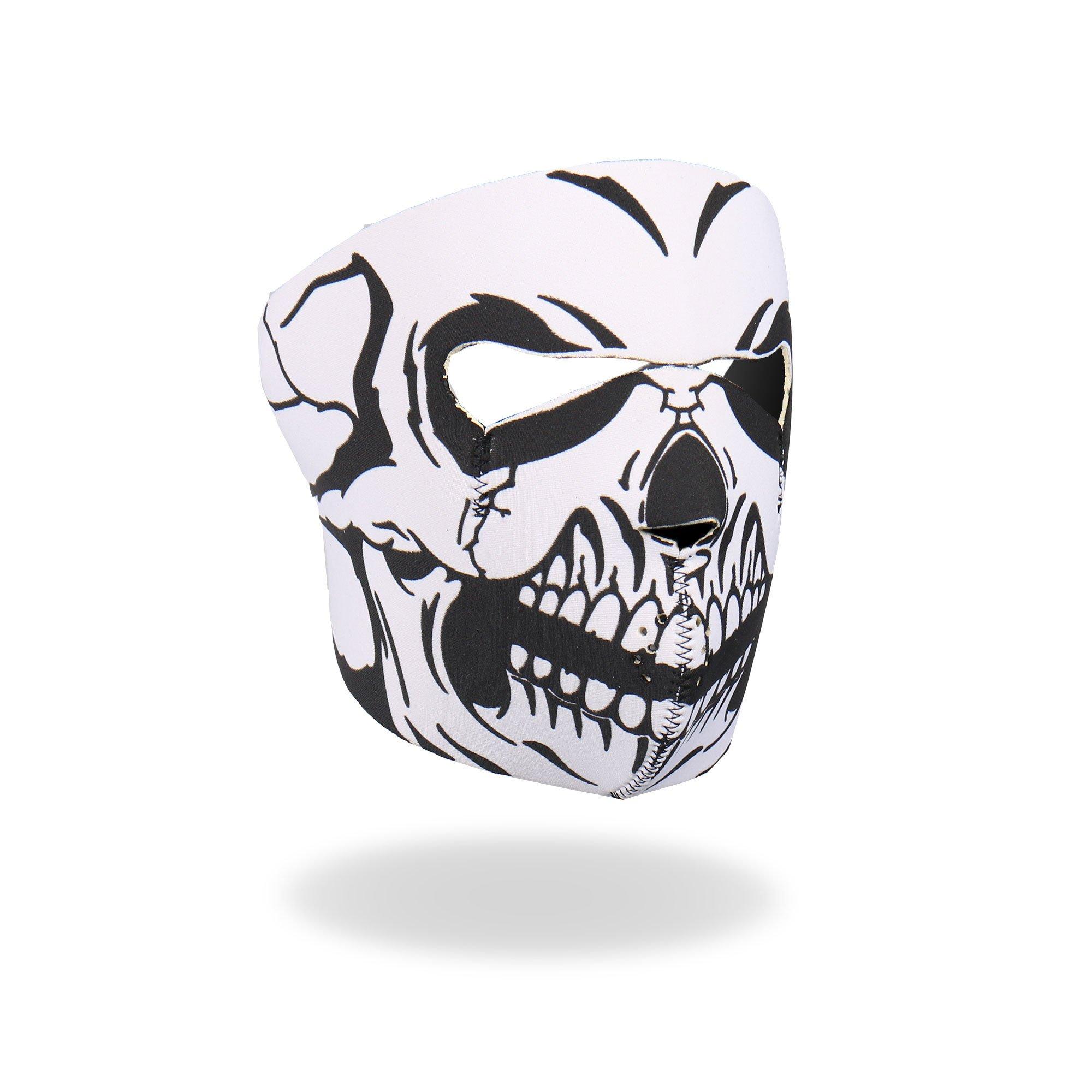 Hot Leathers Skull Neoprene Face Mask (Black/White)
