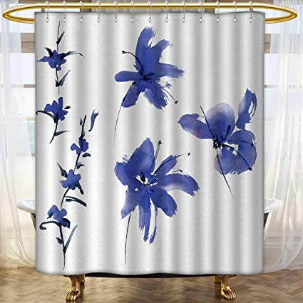 Traditional Shower Curtains 3D Digital Printing Oriental Ancient Watercolor  Inspired Plum Blossom Petals Eastern Artwork Print