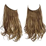 SARLA Halo Headband Hair Extension Medium Brown With Ash Blonde Highlight Short Curly Synthetic Hairpiece Hidden Wire 12 Inch