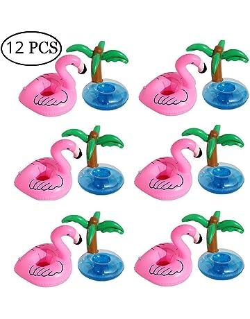 FunPa Posavasos Piscina, 12 Unidades Flamenco Flotador Posavasos Flamingo Palm Tree Titular de la Copa