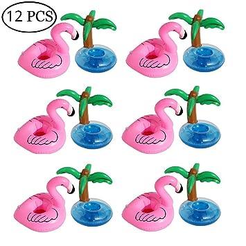 Aufblastiere 100 x Flamingo Aufblasbar Getränkehalter Schwimm Badespielzeug Flaschenhalter