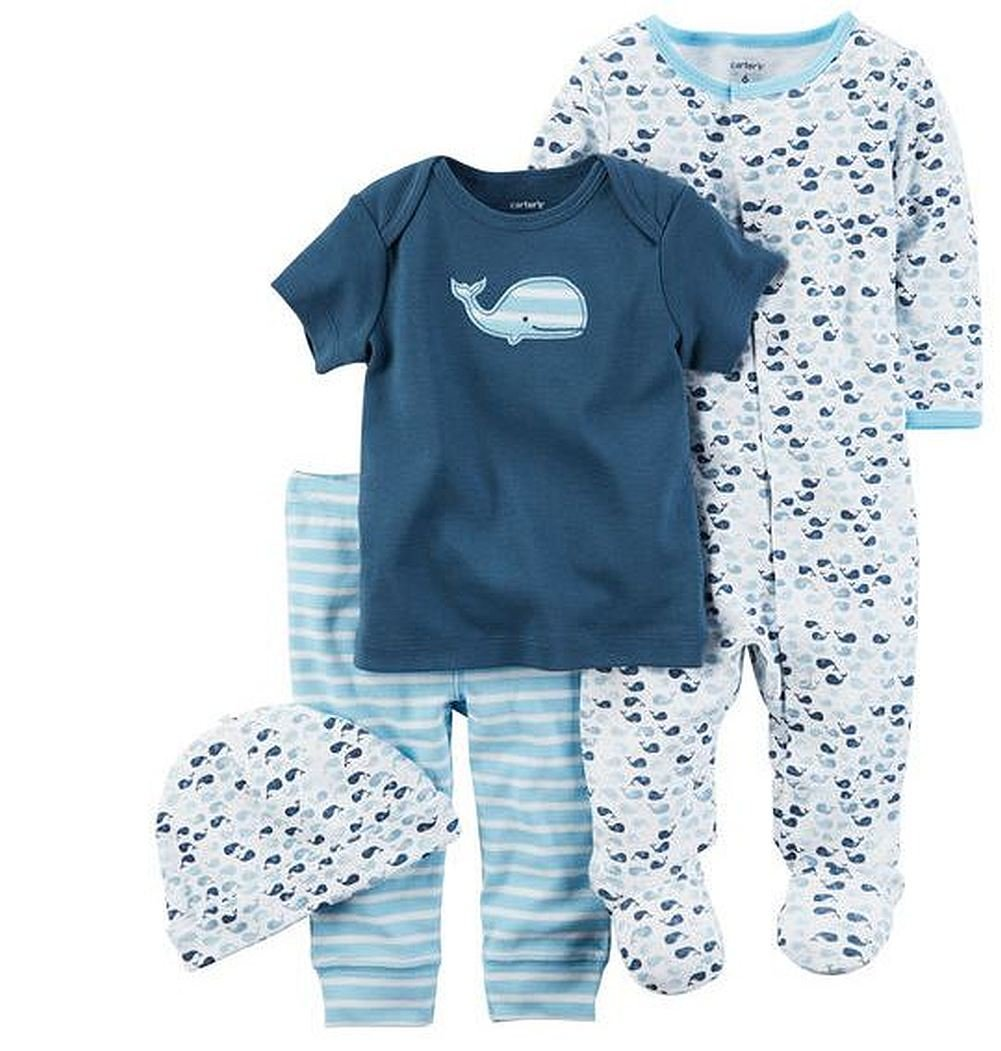 7e0ffb040 Amazon.com: Carters Preemie Baby Boy Clothes 4 Pc Sleeper Shirt Pants Hat  Set: Baby