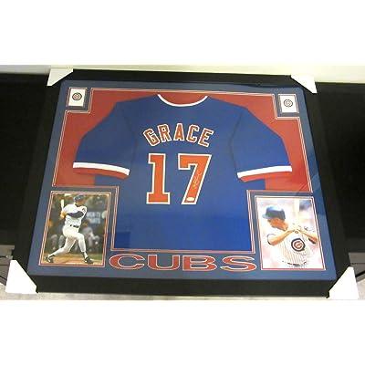 Mark Grace Signed Cubs 35x43 Custom Framed Jersey (JSA COA