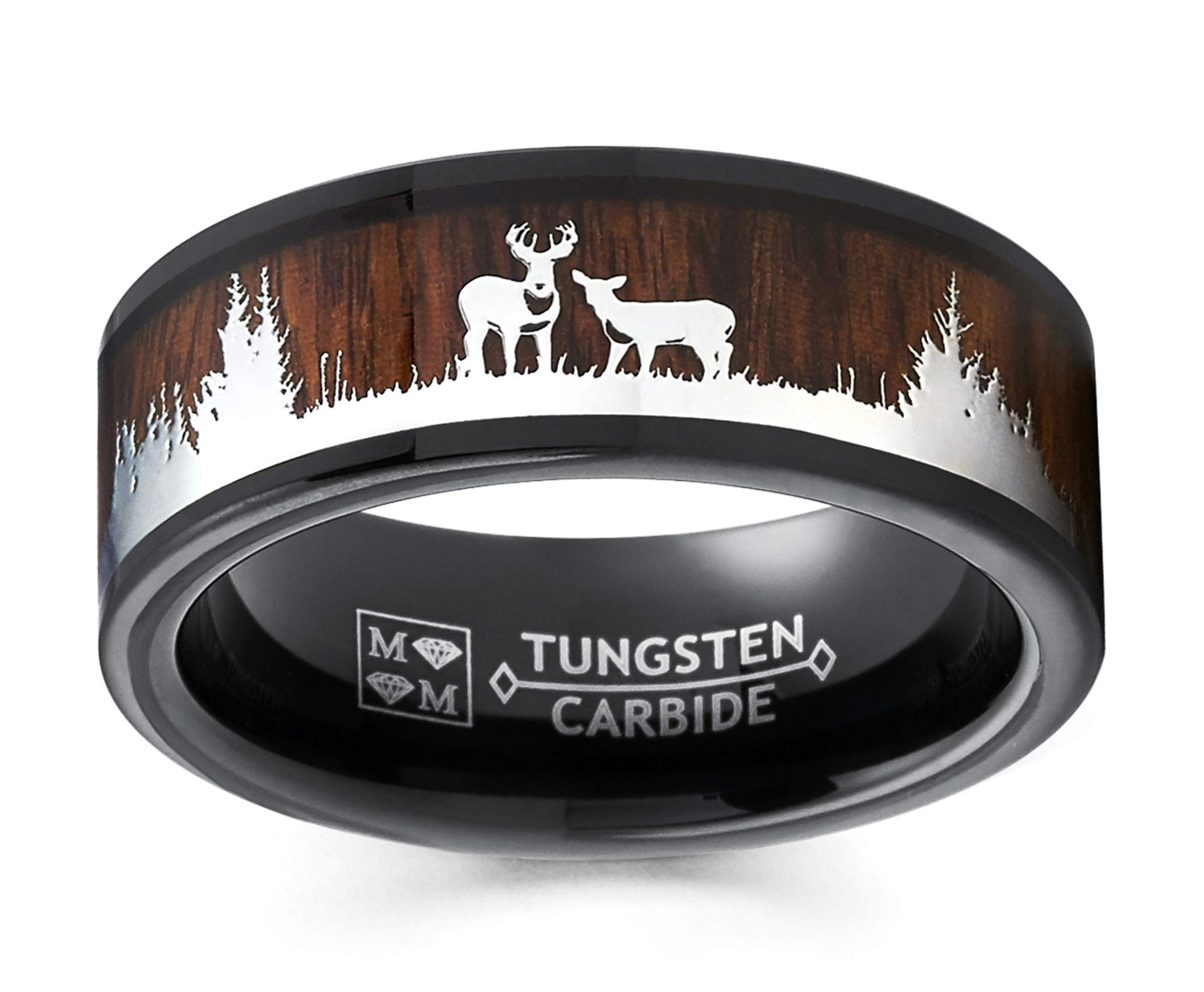 Metal Masters Co. Men's Black Tungsten Hunting Ring Wedding Band Wood Inlay Deer Stag Silhouette 10
