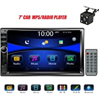 """Regetek Car Rear View Camera + Double Din 7"""" Touchscreen In Dash Stereo Car Receiver Audio Video Player Bluetooth FM AM Radio Mp3 /TF/ USB/ AUX-in/Subwoofer/Steering wheel controls + Remote Control"""