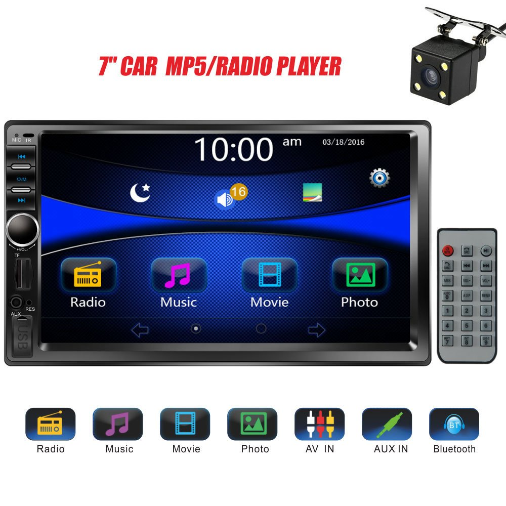 Regetek Car Stereo Double Din 7'' Touchscreen in Dash Stereo Car Audio Video Player Bluetooth FM AM Radio Mp3 /TF/USB/ AUX-in/Subwoofer/Steering Wheel Controls + Remote Control+Rear View Camera