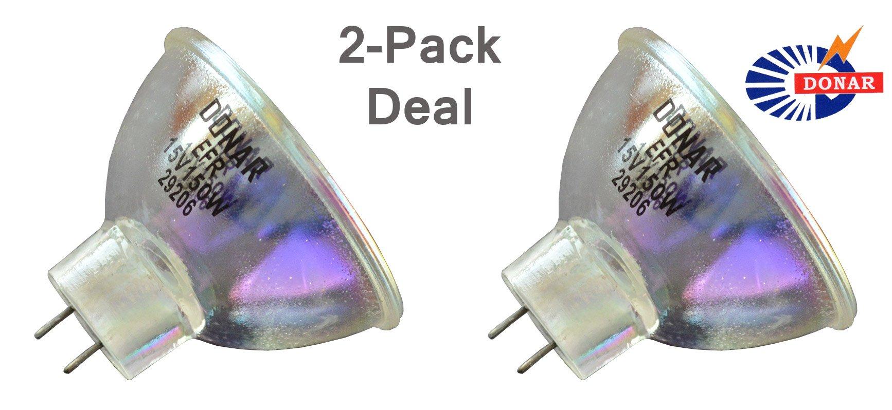 2pcs EFR 15V 150W RM-107 Donar Bulb for VIVADENT HELIOMAT H10 SINGLE & MULTI EURO 7101 7110 – Volpi 150H Universal, Intralux Dual 5000 150 150H TOPCON 300 320 600 OM-5 OMS-300 Medical Dental Lamp
