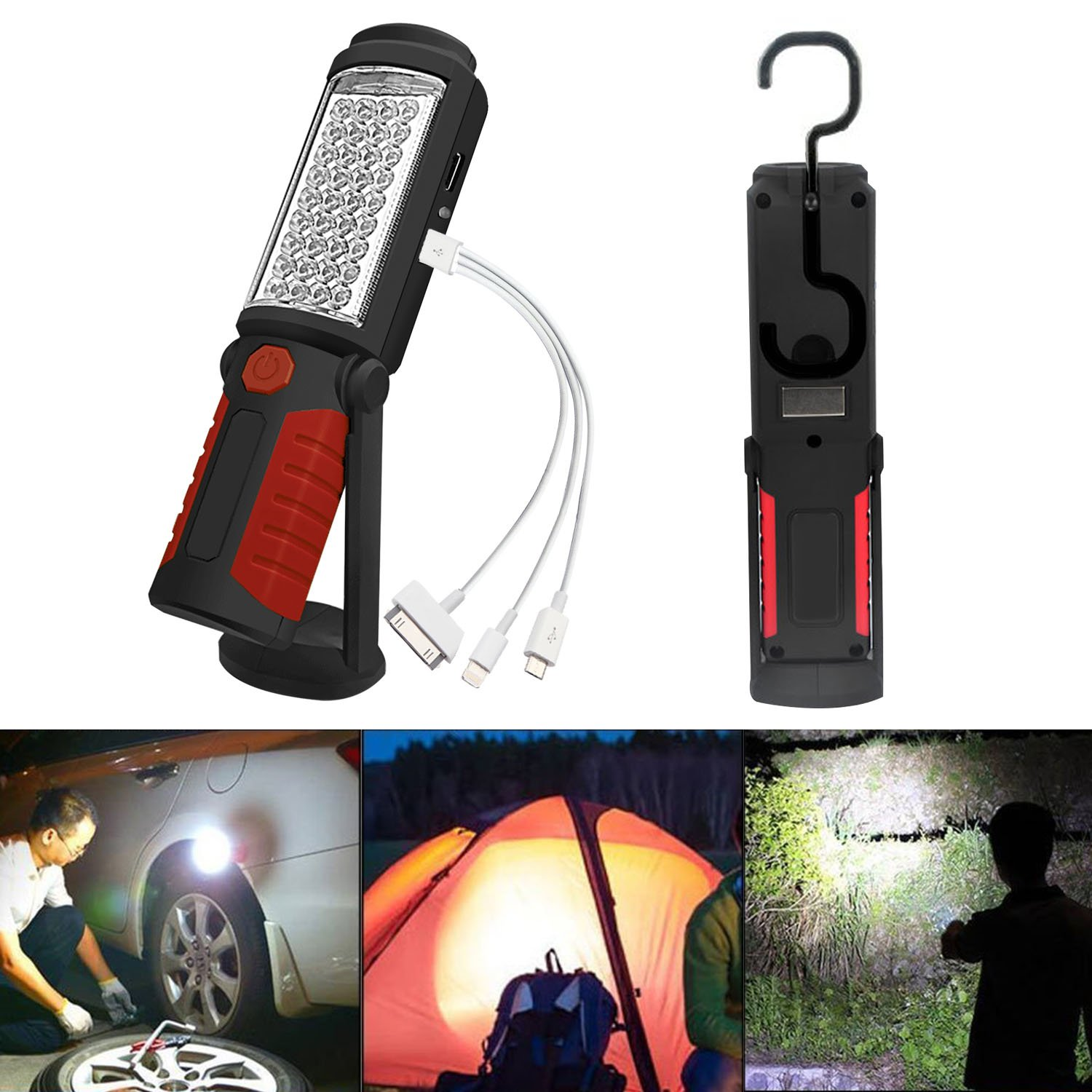 SunTop Led Work Light,Rechargeable LED Portable Inspection Lamp Torch Camping Light with Magnetic Clip, Household Workshop Automobile Camping Emergency Use