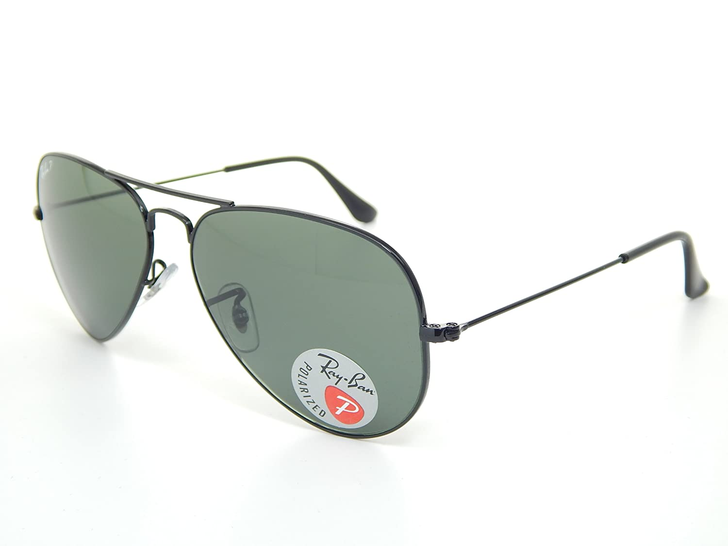 bde5675a2e Amazon.com  Ray-Ban Aviator Polarized Black Frame w  Natural Green RB 3025  002 58 55mm Small  Shoes