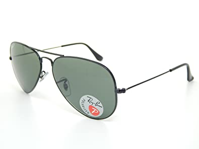 b65638cf777 Image Unavailable. Image not available for. Color  Ray-Ban Aviator  Polarized Black Frame w  Natural Green RB 3025 002 58