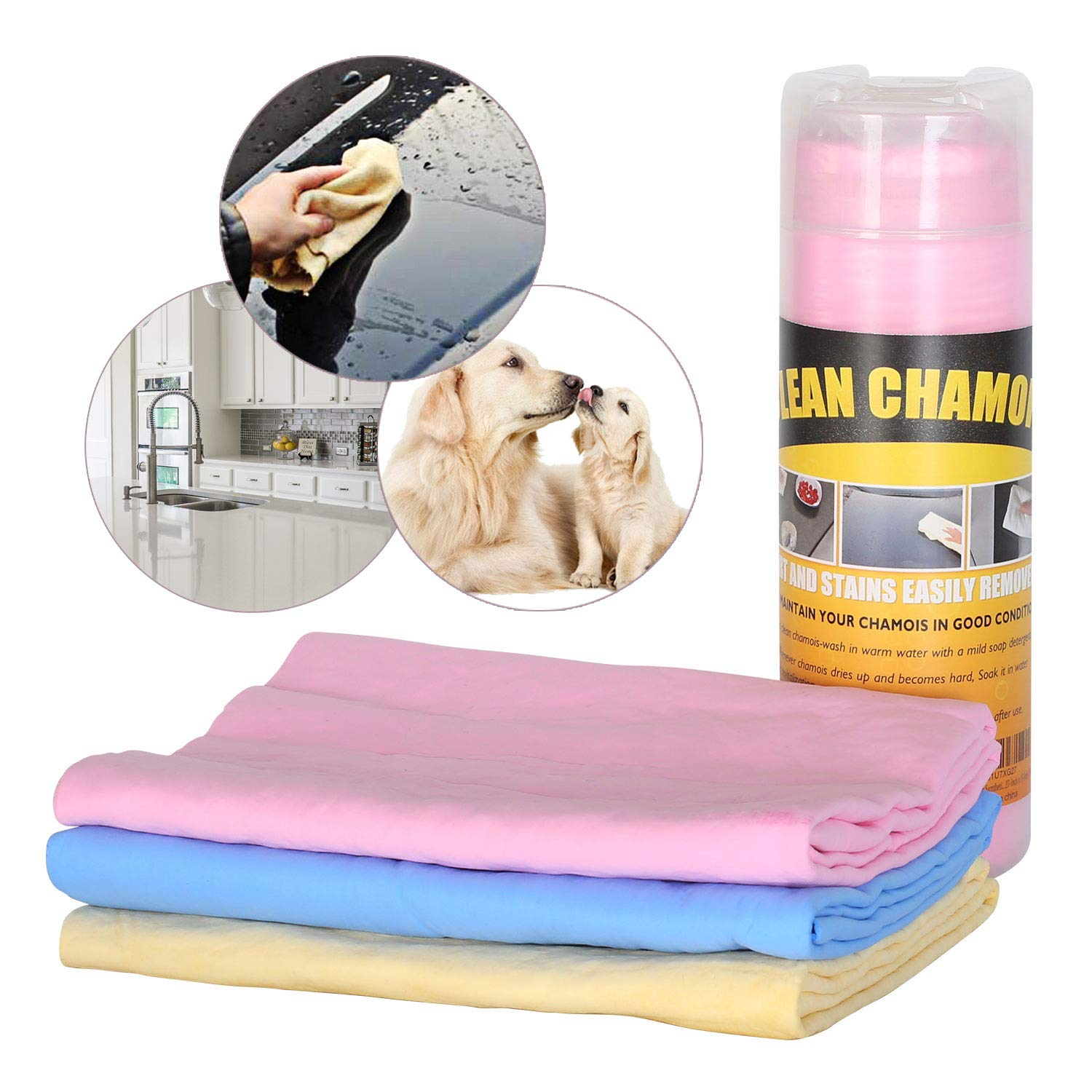 """Xpect Chamois Drying Towel for Dogs Car Drying Shammy Towel Kitchen Cleaning Towel Ultra-Absorbent Machine Washable 27"""" x 17"""""""