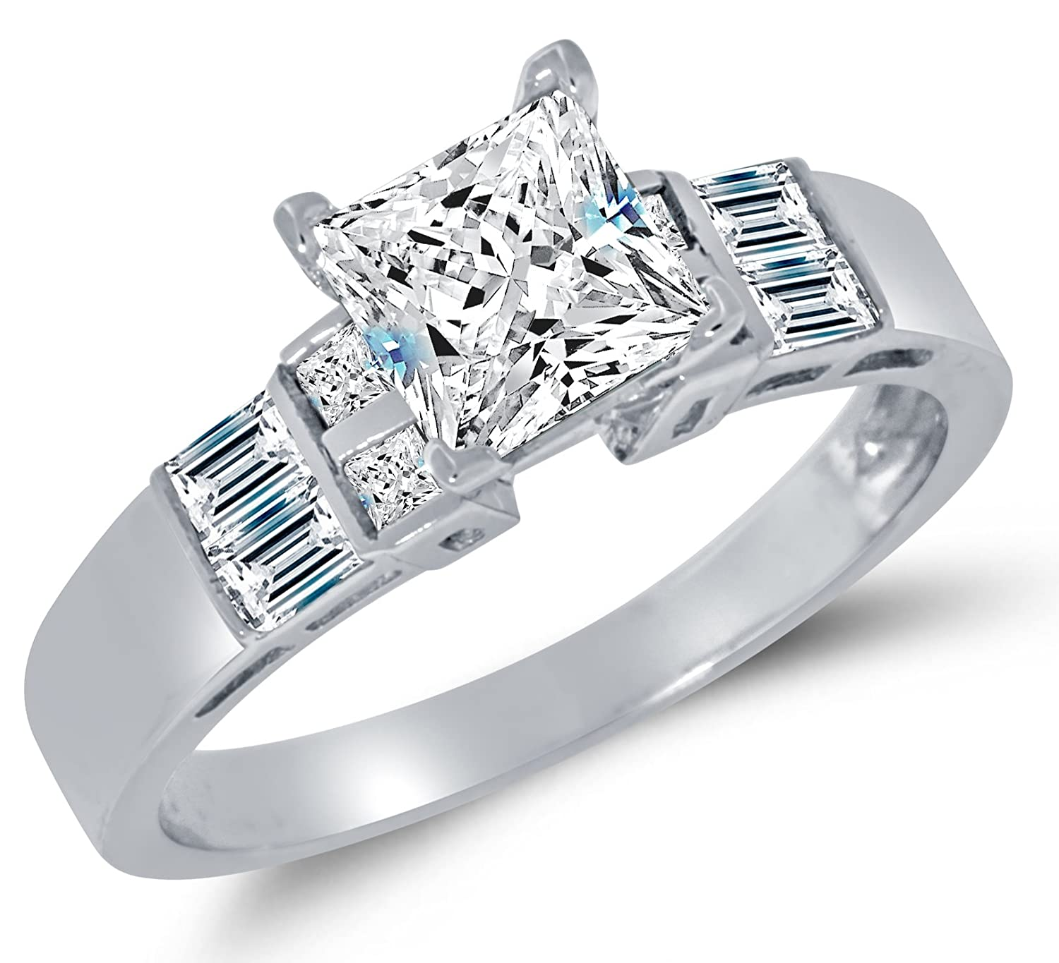 Solid 14k White Gold Highest Quality CZ Cubic Zirconia Engagement Ring - Princess Cut Solitaire with Baguette Side Stones (1.75cttw., 1.5ct. Center) Sonia Jewels SCRGN-705