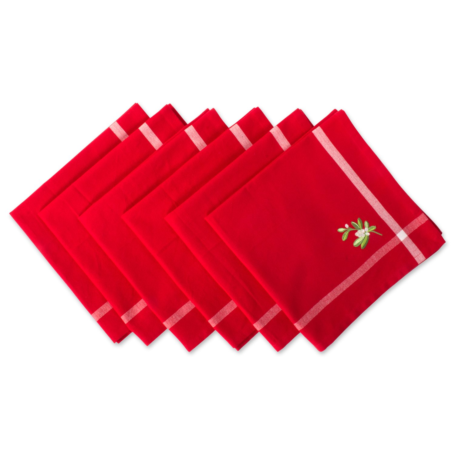 DII 100% Cotton, Machine Washable, Oversized Holiday 20x20'' Napkin Set of 6, Red with Embroidered Mistletoe