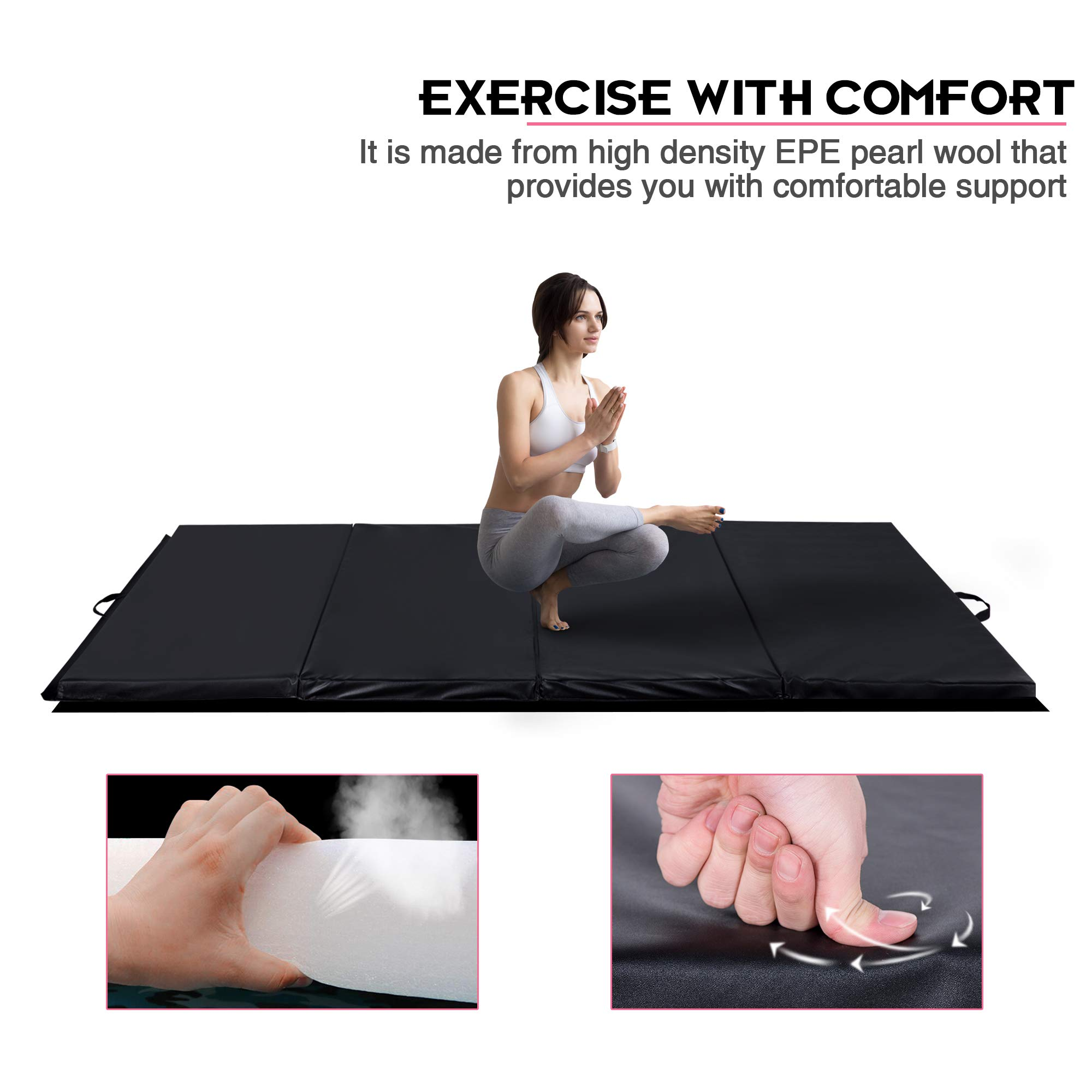 Homevibes 4' x 10' x 2'' Gymnastics Mat Thick Folding Panel Tumbling Mat Gym Exercise Aerobics Mat with Handle Compatibility with Stretching Yoga Cheerlanding Martial Arts, Black by Homevibes (Image #3)