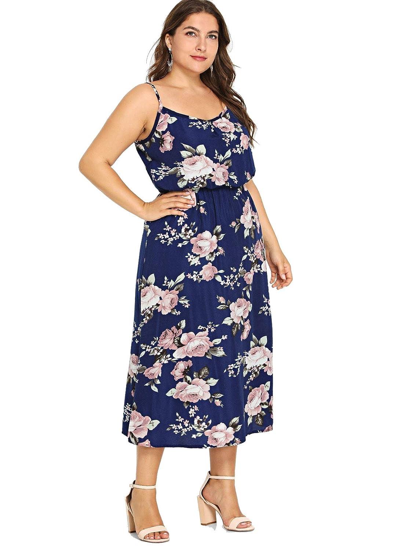Milumia Women Plus Size Cami Dress Floral High Waist Casual Summer ...