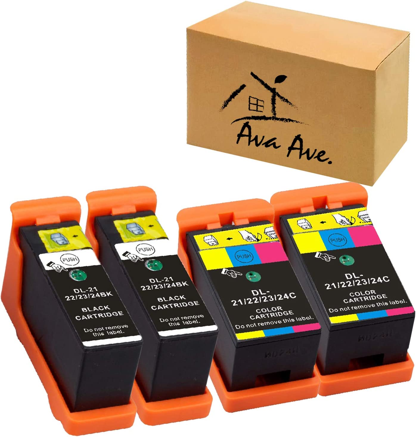 Replace for Dell Series 21 Ink Cartridges Compatible for Dell V515w, V715w, P513w, P713w, V313, V313w, P713w, All-In-One printers (2 Black and 2 Color, 4 Pack) for Dell Series 21, Series 22, Series 23
