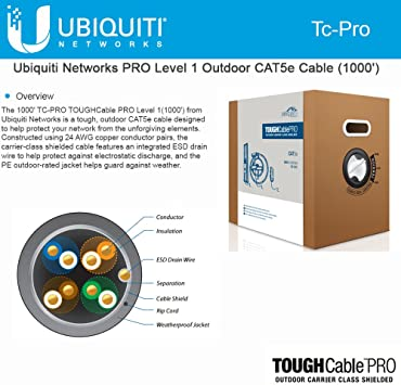 Ubiquiti Networks ToughCable Carrier Cat5e Outdoor Shielded Ethernet Cable 1000'